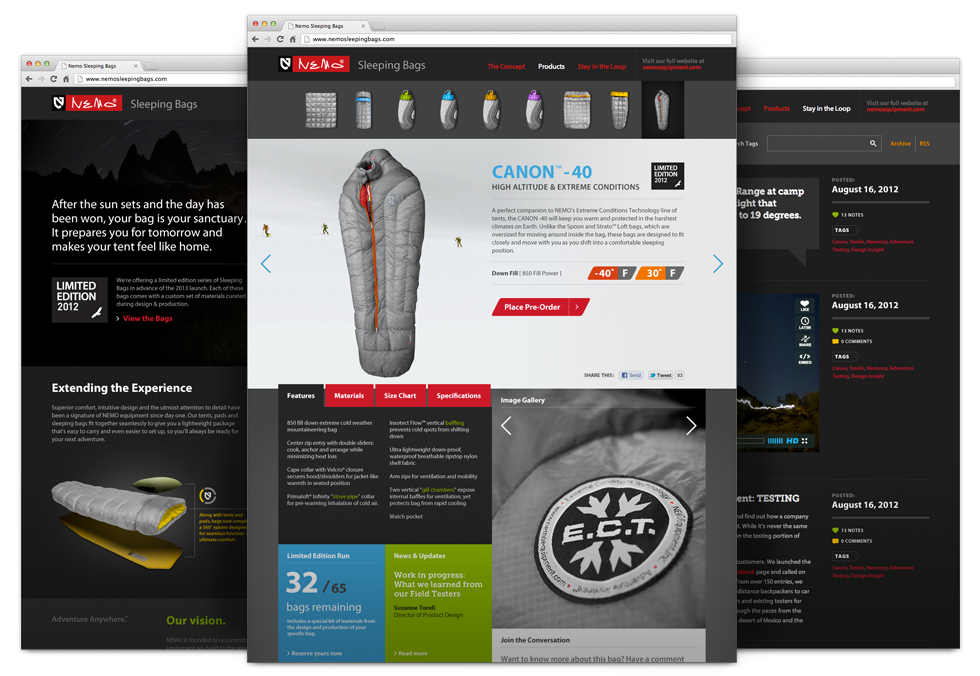 Nemo Sleeping Bags Website by Mike Scopino
